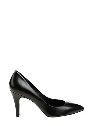 Divarese İnce Kısa Topuklu Deri Ayakkabı Siyah